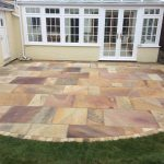 The garden after the Indian Sandstone patio was laid. Broughton