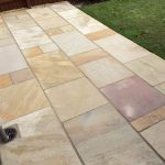 A close up view of the finished Indian Sandstone patio in Kettering.