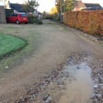 The existing driveway in Wilbarston near Market Harborough.