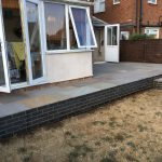 The completed raised sandstone patio in Kettering, Corby, Market Harborough.